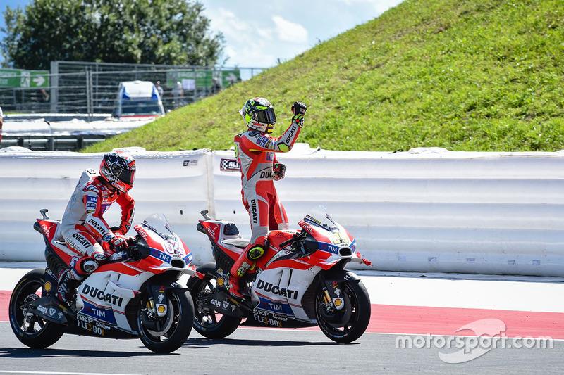 Winner Andrea Iannone, Ducati Team and second place Andrea Dovizioso, Ducati Team