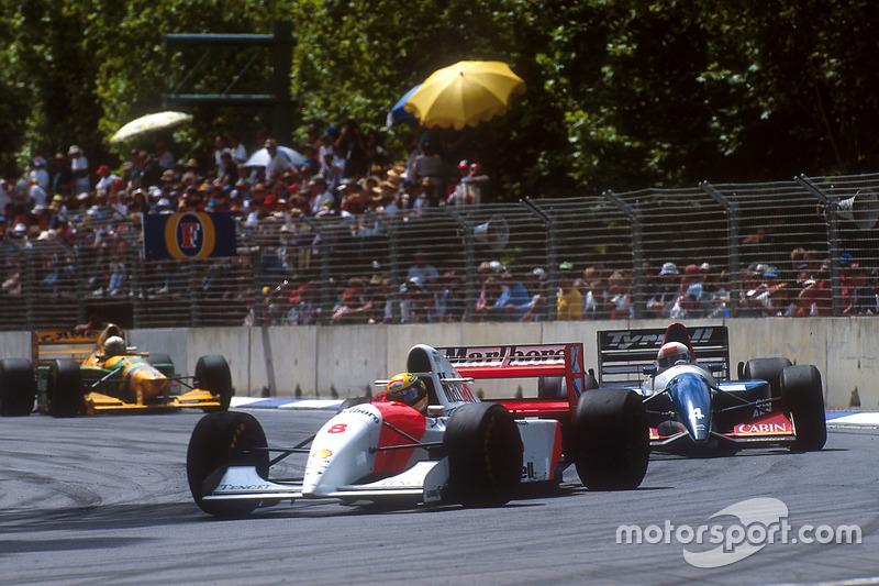 Ayrton Senna, McLaren MP lapping Andrea de Cesaris, Tyrrell