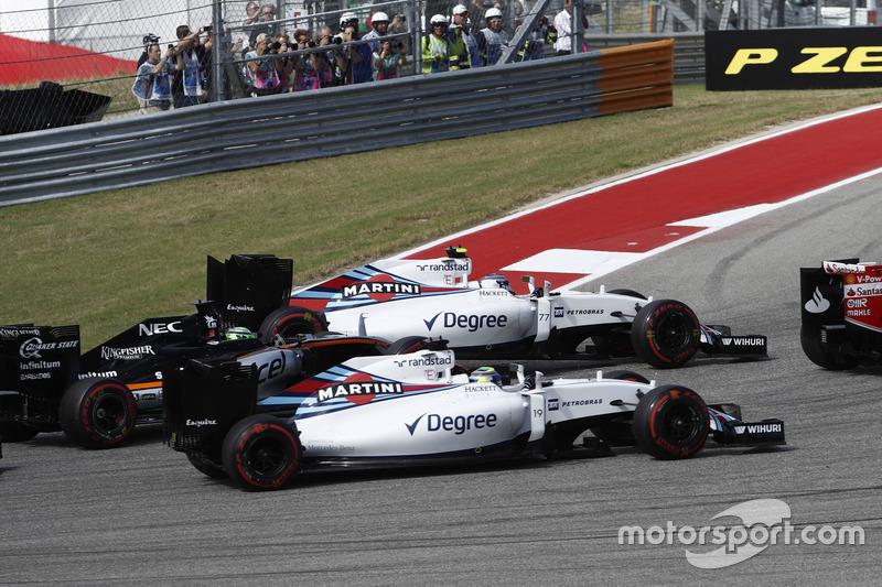 Valtteri Bottas, Williams FW38; Felipe Massa, Williams FW38 y Nico Hulkenberg, Force India VJM09