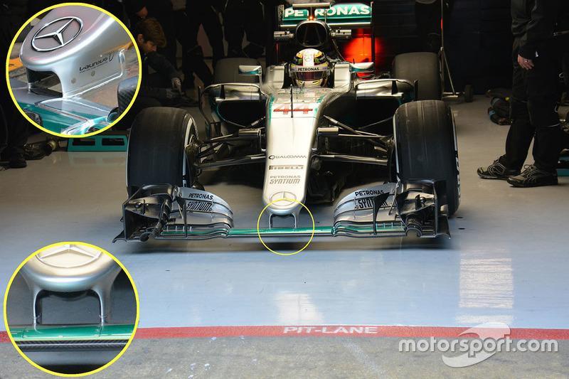 Détails de l'aileron avant de la Mercedes AMG F1 Team W07 de Lewis Hamilton