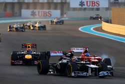 Pastor Maldonado, Williams Renault FW34, Fernando Alonso, Ferrari F2012 y Mark Webber, Red Bull Racing RB8
