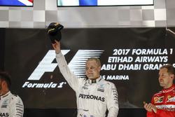 Valtteri Bottas, Mercedes AMG F1, on the podium after winning the Grand Prix