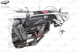 Haas VF-17 nuevo bargeboard, GP de Estados Unidos