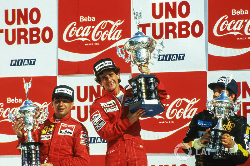 Подіум: 1. Ален Прост, McLaren. 2. Мікеле Альборето, Ferrari. 3. Еліо де Анжеліс, Lotus