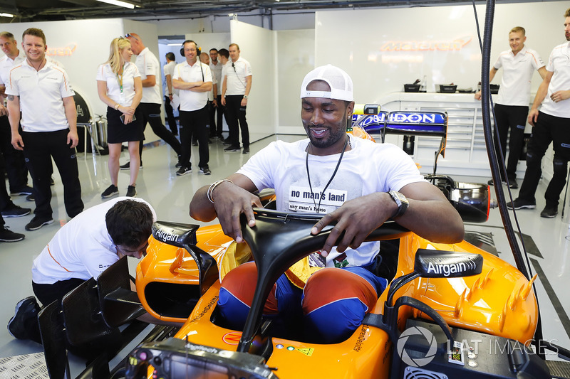 Spaniard Serge Ibaka Congolause of the NBAs Toronto Raptors tries the seat in the car of Fernando Al