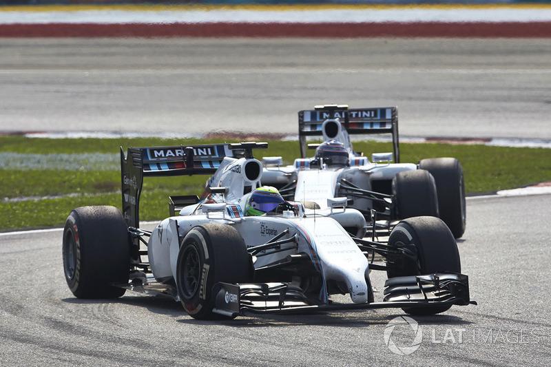 Felipe Massa, Williams FW36 Mercedes, leads Valtteri Bottas, Williams FW36 Mercedes