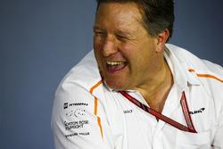 Zak Brown, directeur exécutif du McLaren Technology Group, lors de la conférence de presse