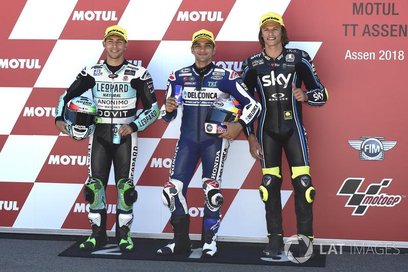 Le top 3 après les qualifications : Enea Bastianini, Leopard Racing, Jorge Martin, Del Conca Gresini Racing Moto3, Nicolo Bulega, Sky Racing Team VR46