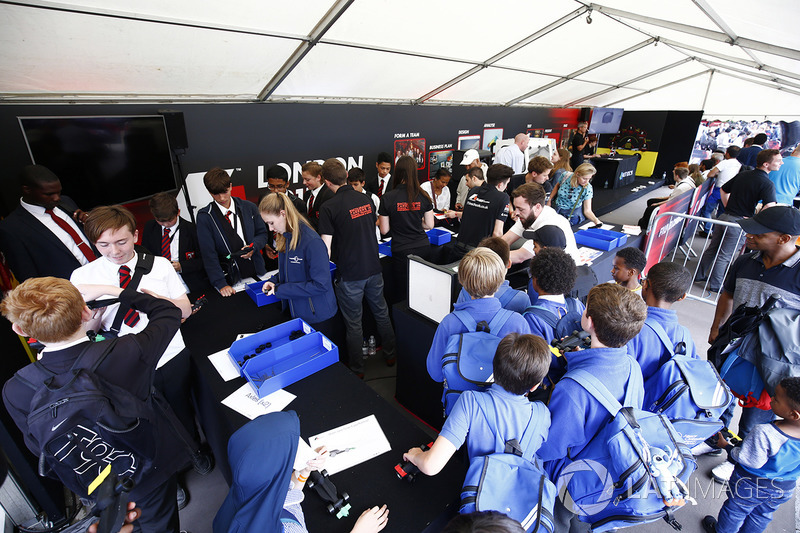 Schoolchildren visit one of the various projects aimed at generating an interest in motor racing among students