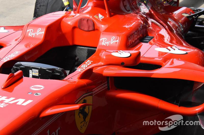 Детали кокпита Ferrari SF70H, не рассчитанного для установки «Щита»
