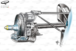 Red Bull RB8 rear suspension upright and rear brake setup (note low slung caliper)