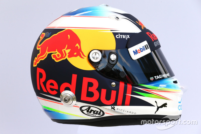 Le casque de Daniel Ricciardo, Red Bull Racing RB13