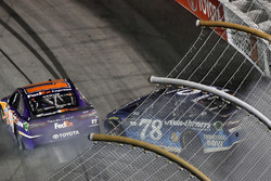 Crash: Denny Hamlin, Joe Gibbs Racing Toyota, Martin Truex Jr., Furniture Row Racing Toyota