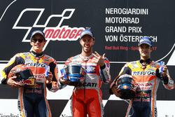 Podium: second place Marc Marquez, Repsol Honda Team, Race winner Andrea Dovizioso, Ducati Team, third place Dani Pedrosa, Repsol Honda Team