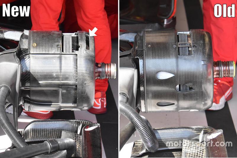 Ferrari SF-70H, comparazione tra le diverse configurazione del cestello dei freni