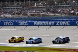 Joey Logano, Team Penske Ford, Aric Almirola, Richard Petty Motorsports Ford and Danica Patrick, Stewart-Haas Racing Ford