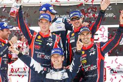 Winner Sébastien Ogier, M-Sport, second place Thierry Neuville, Nicolas Gilsoul, Dani Sordo, Marc Marti, Hyundai Motorsport