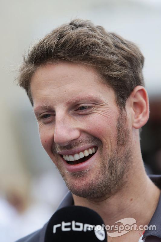 Romain Grosjean, Haas F1 Team with the media