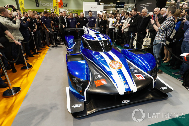 The Ginetta LMP1 car is unveiled, Graeme Lowdon and Ginetta boss Lawrence Tomlinson stand behind the