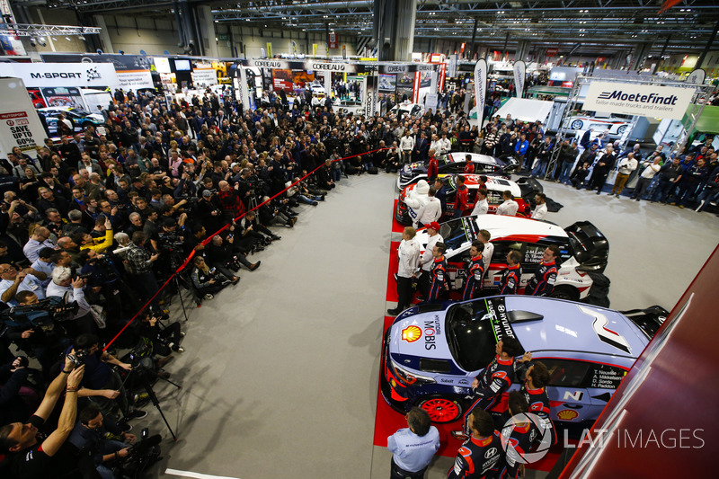 The 2018 WRC season is launched at the Autosport International Show. Works rally cars from Hyundai, Citroen and the M-Sport Ford cars are unveiled to visitors