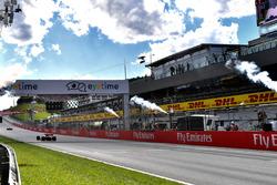 Sebastian Vettel, Ferrari SF71H crosses the line