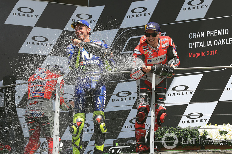 Podio: ganador, Jorge Lorenzo, Ducati Team, segundo, Andrea Dovizioso, Ducati Team, tercero, Valentino Rossi, Yamaha Factory Racing