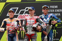 Podium: second place Marc Marquez, Repsol Honda Team, Race winner Jorge Lorenzo, Ducati Team, third place Valentino Rossi, Yamaha Factory Racing