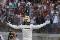 Lewis Hamilton, Mercedes AMG F1, celebrates after securing pole position