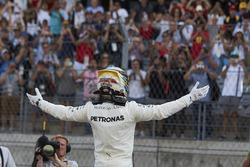 Lewis Hamilton, Mercedes AMG F1, celebrates after securing pole position