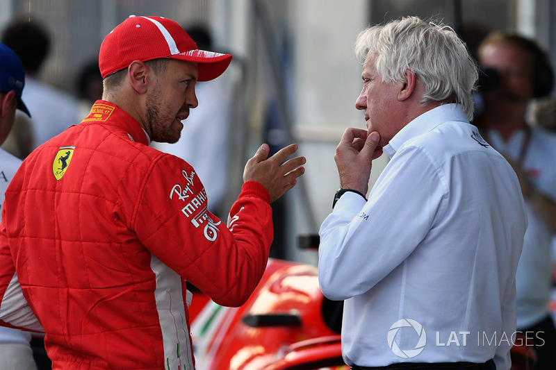 Sebastian Vettel, Ferrari, Charlie Whiting, FIA Delegate