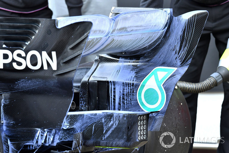 Mercedes-AMG F1 W09 rear wing detail with aero paint