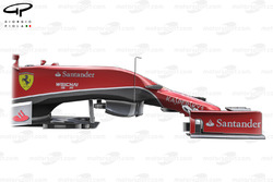 Ferrari F14 T side view, wheel and suspension removed to show step in chassis