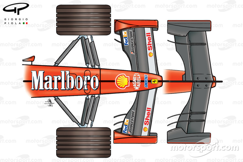 Ferrari F399 front wing differences (top and bottom views, note shorter chord upper flap but two strakes on the lower illustrations)