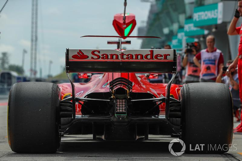 The rear wing detail of Sebastian Vettel, Ferrari SF70H