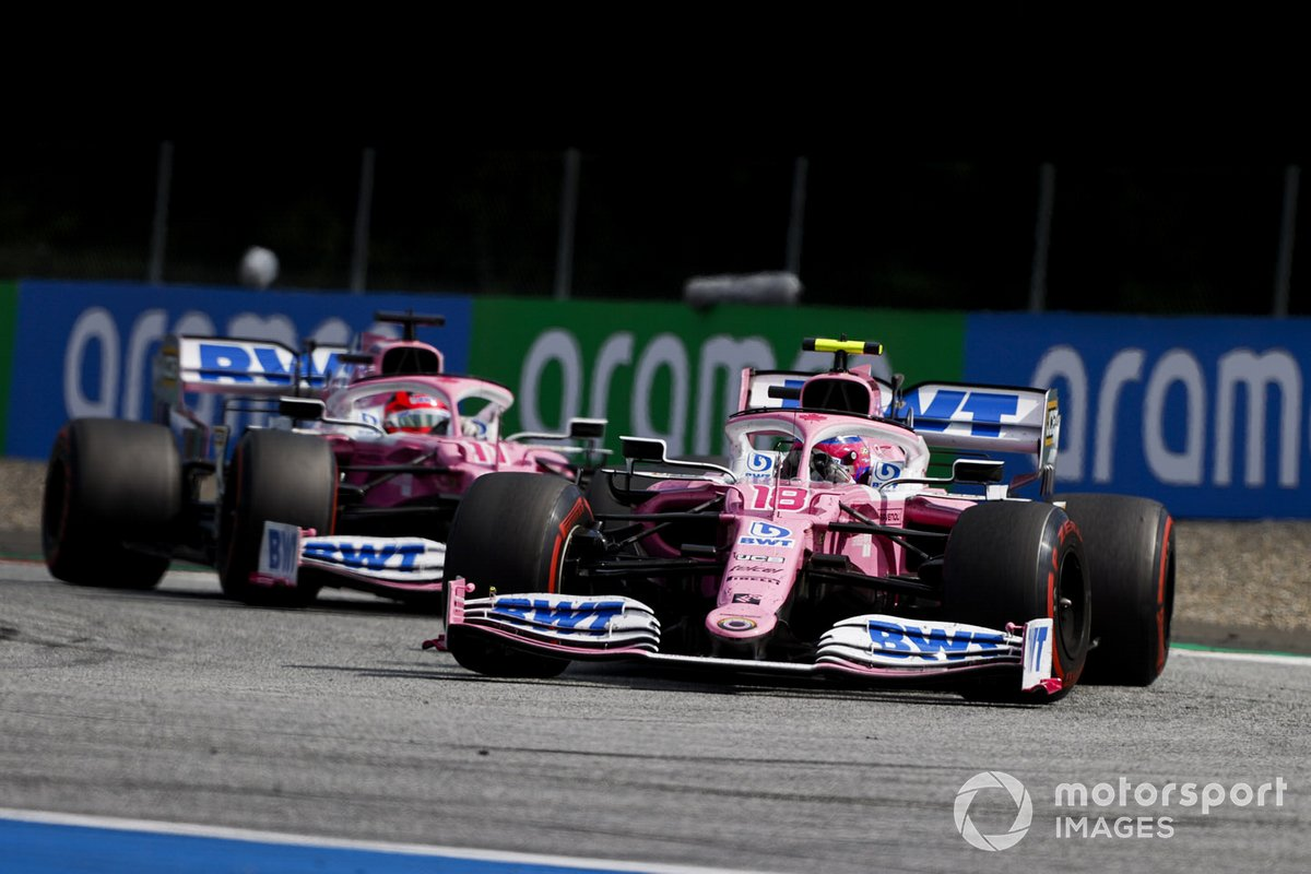 Lance Stroll, Racing Point RP20, y Sergio Pérez, Racing Point RP20