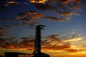 Sun rise behind the observation tower