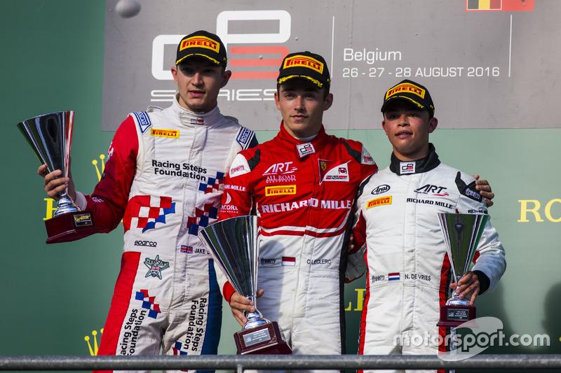 Podium: winner Charles Leclerc, ART Grand Prix, second place Jake Dennis, Arden International, third place Nyck De Vries, ART Grand Prix