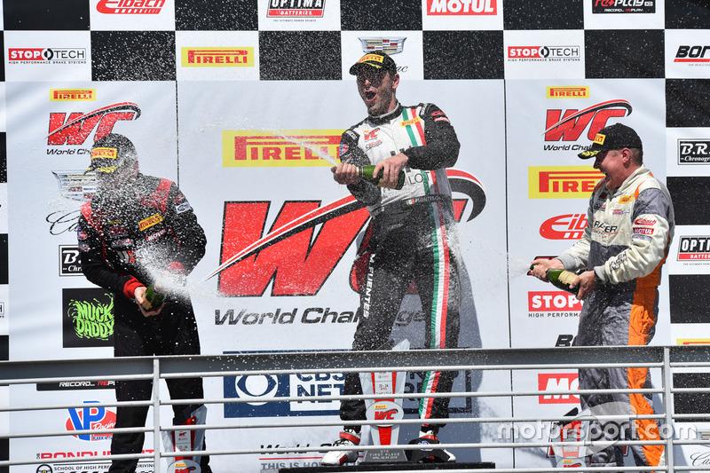 Podium GTA: 1. Martin Fuentes, Scuderia Corsa; 2. Michael Schein, Wright Motorsports; 3. Drew Regitz, Stephen Cameron Racing
