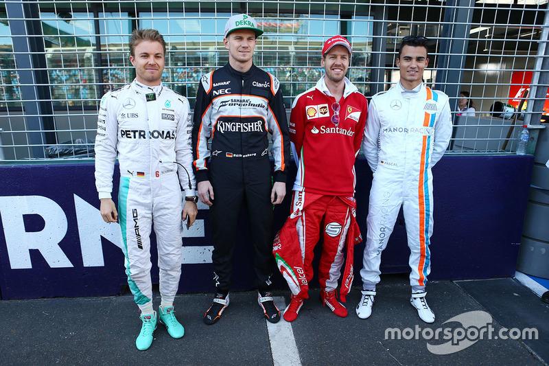 Nico Rosberg, Mercedes AMG F1 Team, Nico Hulkenberg, Sahara Force India F1, Sebastian Vettel, Ferrari and Pascal Wehrlein, Manor Racing