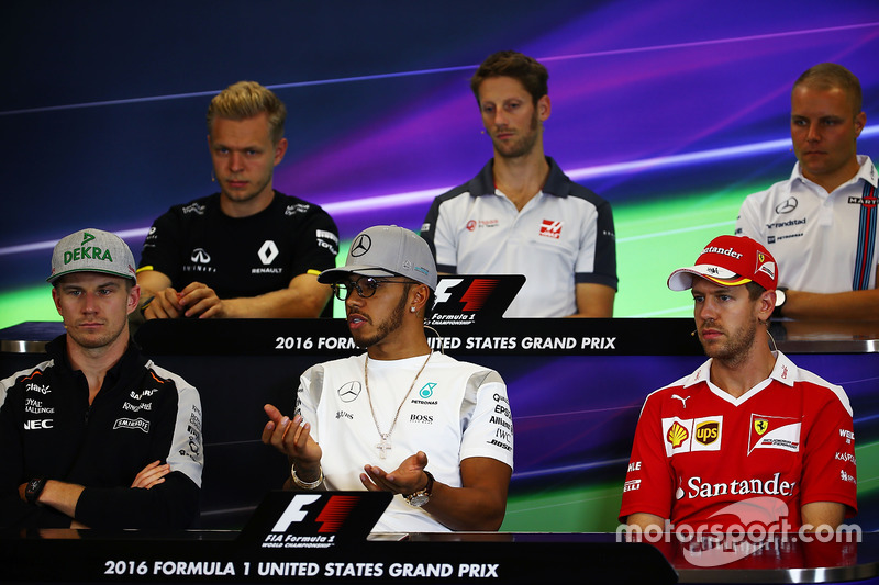The FIA Press Conference (From back row (L to R)): Kevin Magnussen, Renault Sport F1 Team; Romain Grosjean, Haas F1 Team; Valtteri Bottas, Williams; Nico Hulkenberg, Sahara Force India F1; Lewis Hamilton, Mercedes AMG F1; Sebastian Vettel, Ferrari