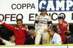 Podium: race winner Nelson Piquet, Brabham BMW, second place René Arnoux, Ferrari, third place Eddie Cheever, Renault