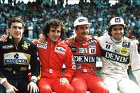 Die Weltmeisterschaftskandidaten 1986, Ayrton Senna, Lotus; Alain Prost, McLaren; Nigel Mansell, Williams; Nelson PIquet, Williams