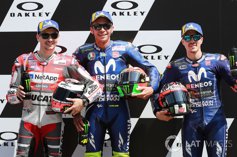Polesitter Valentino Rossi, Yamaha Factory Racing, second place Jorge Lorenzo, Ducati Team, third place Maverick Viñales, Yamaha Factory Racing