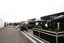 A view of makeshift hospitality units in the paddock