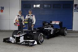 Bruno Senna and Pastor Maldonado pose with the new Williams FW34