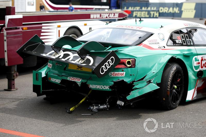 L'auto di Nico Müller, Audi Sport Team Abt Sportsline, Audi RS 5 DTM dopo l'incidente