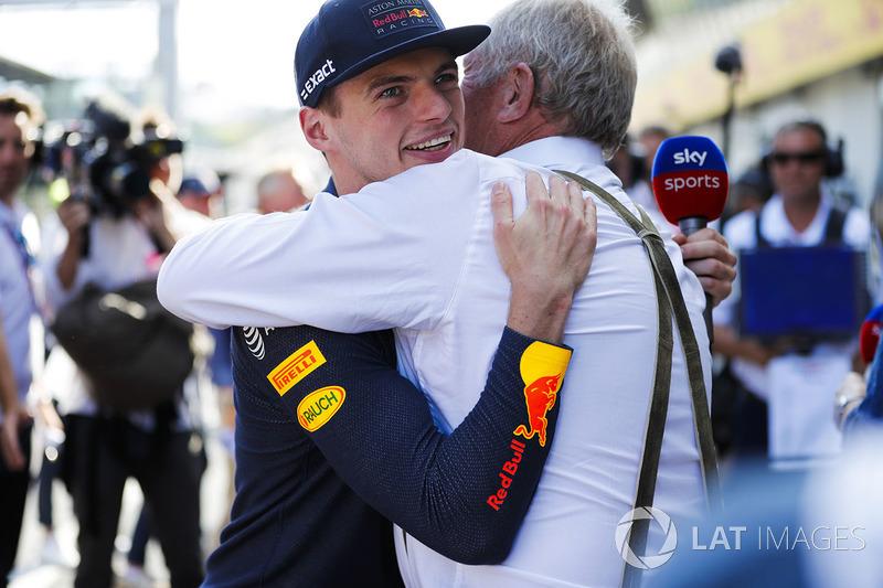 Max Verstappen, Red Bull Racing, et Helmut Marko, consultant pour Red Bull Racing