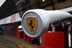 Ferrari logo as snow stops testing on day three