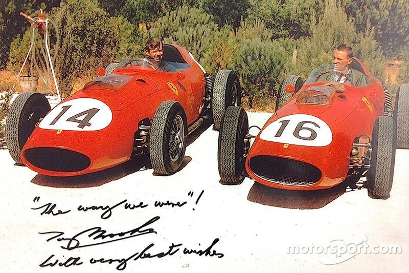 Tony Brooks et Dan Gurney dans des Ferrari 246 Dino 1959