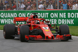 Race winner Sebastian Vettel, Ferrari SF71H waves at the end of the race